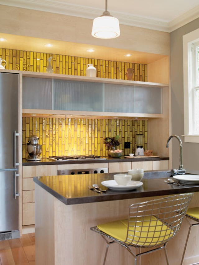 Kitchen Decor Yellow Subway Tiles Gray Stone Modern