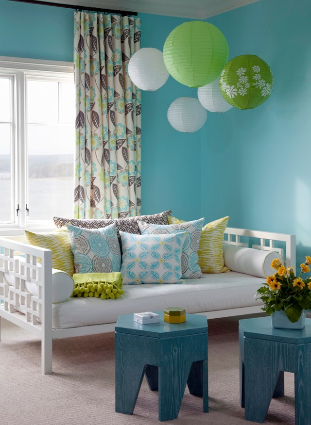 These walls are the perfect shade of turquoise the designer hung