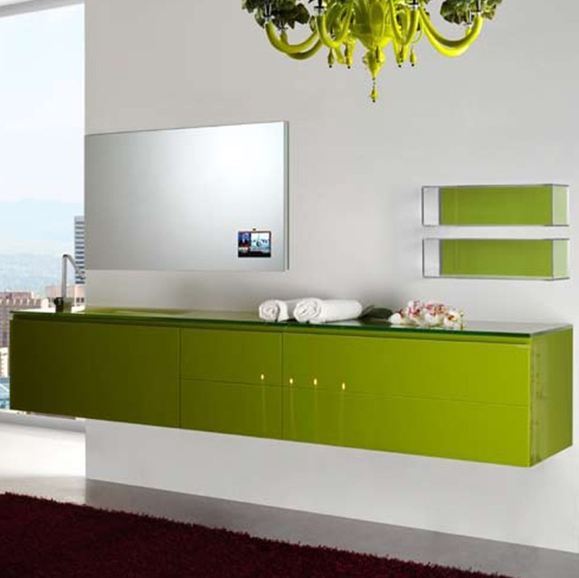 Floating Lacquer Bathroom Vanities Visual Remodeling Blog Fixr. Green Bathroom Cabinets