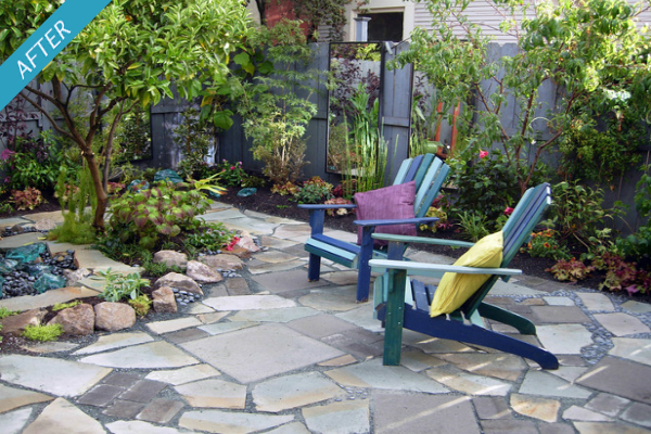 Small Uneven Backyard Ideas : The new style patio is now level and makes more use of the whole